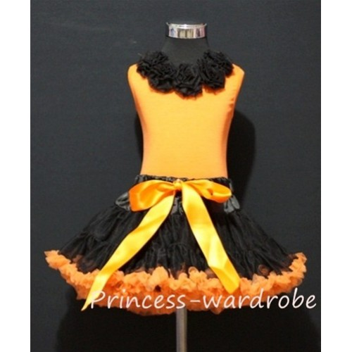 Black Orange Pettiskirt with Matching Black Rosettes Orange Tank Top MN08