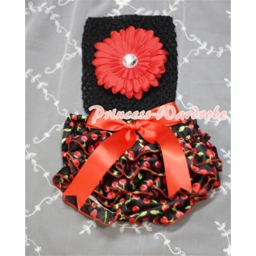 Black Crochet Tube Top, Red Giant Bow Black Cherry Bloomer CT214