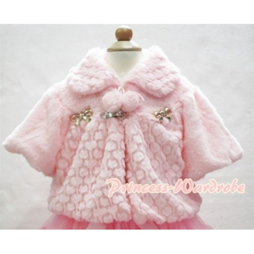 Light Pink Soft Fur with Bow Shawl Coat SH17