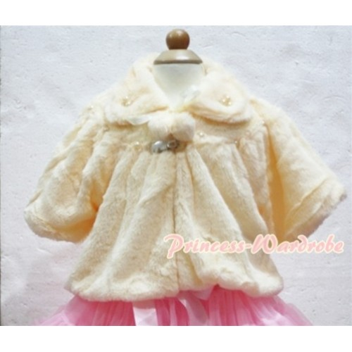 Cream Yellow Soft Fur with Pearl Bead Shawl Coat SH18