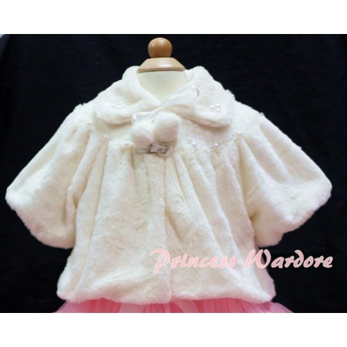 Cream White Soft Fur with Pearl Bead Shawl Coat SH20