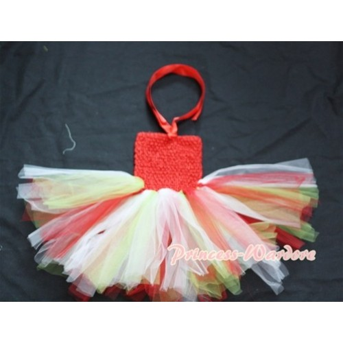 Hot Red Crochet Tube Top with Rainbow Knotted Tulle Tutu One Pieces HT19