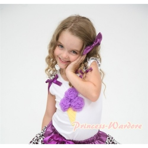 Dark Purple Ice Cream White Tank Top with Purple Leopard Ruffles and Dark Purple Ribbon TS353