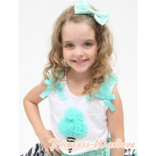 Aqua Blue Zebra Ice Cream White Tank Top with Aqua Blue Ruffles and Aqua Blue Ribbon TS354