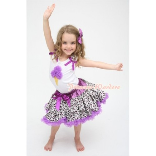Dark Purple Leopard Pettiskirt With Dark Purple Ice Cream White Tank Top with Purple Leopard Ruffles & Dark Purple Bows ML045