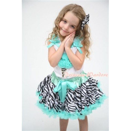 Aqua Blue Zebra Pettiskirt With Aqua Blue Zebra Ice Cream White Tank Top and Aqua Blue Ruffles and Bows MT046