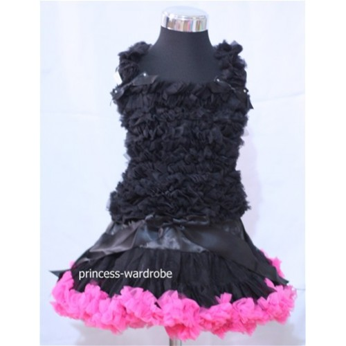 Black Pink Pettiskirt with Matching Black Ruffles Tank Tops MR31
