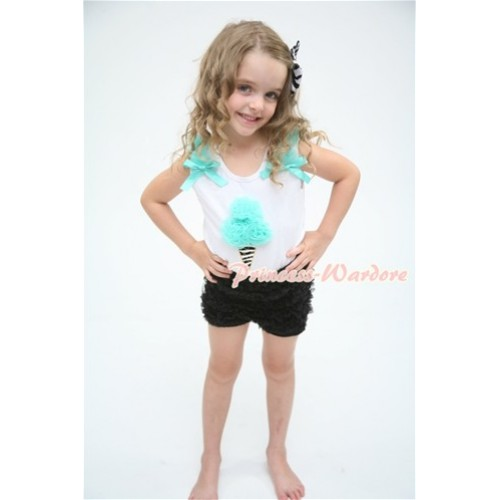 White Tank Top with Aqua Blue Zebra Ice Cream with Aqua Blue Ruffles and Bow with Black Ruffle Pettishort P002