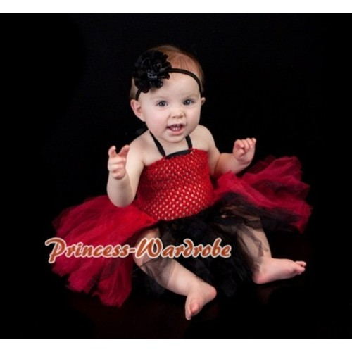 Red Crochet Tube Top with Red Black Knotted Tutu HT21