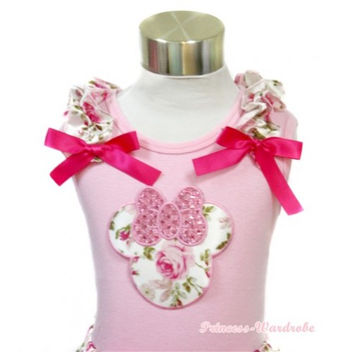 Light Pink Tank Top With Sparkle Light Pink Rose Minnie Print With Light Pink Rose Fusion Ruffles& Hot Pink Bows TP49