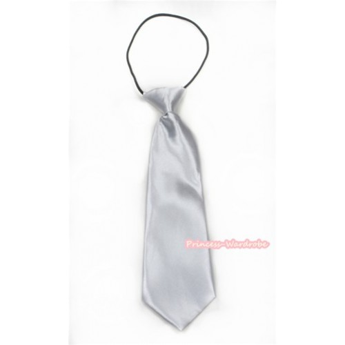 Pure White Silk Elastic Necktie BT16
