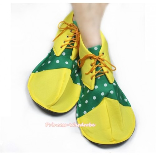 Halloween Party Yellow Kelly Green White Polka Dots Jumbo Clown Shoes Costumes C131
