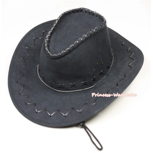 Black Leather Western Cowboy Wide Brim Hat H716