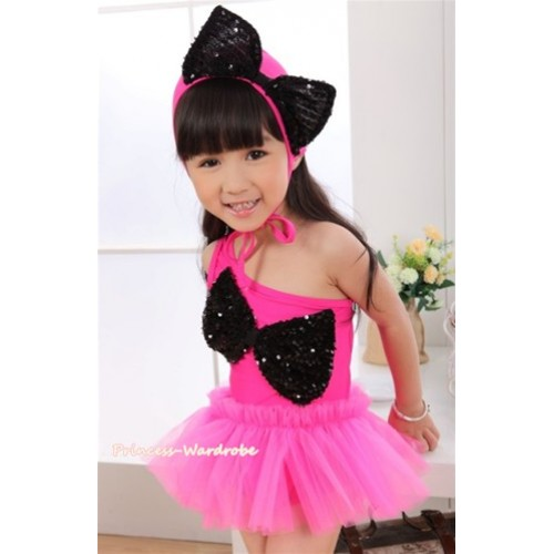 Hot Pink Black Sequin Cute Bow One Piece Sloping Shoulders Swimming Suit with Cap SW68