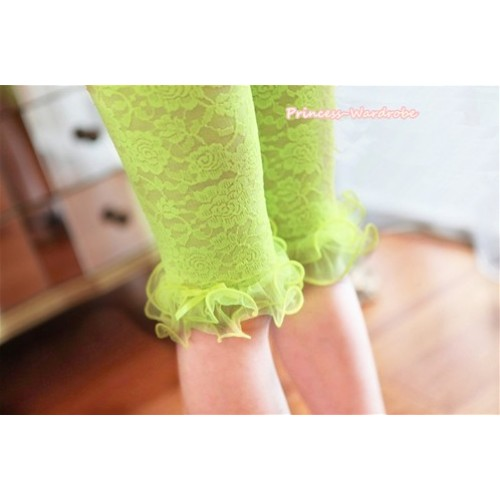 Neon Bright Green Flower Pattern See-through Little Bow Lace Legging LG236