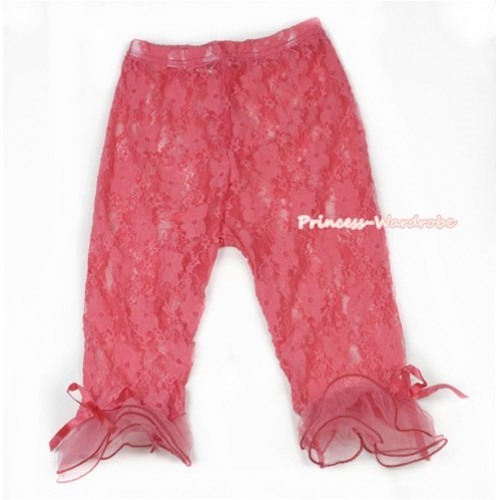 Waterlemon Red Flower Pattern See-through Little Bow Lace Legging LG237