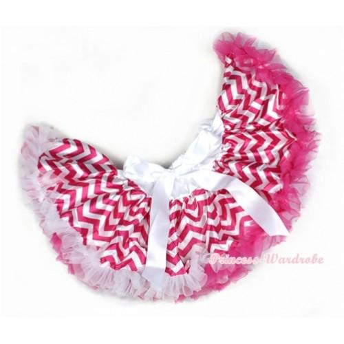 Hot Pink White Wave Newborn Pettiskirt N135