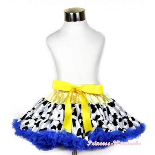 Yellow Royal Blue Milk Cow Full Pettiskirt P162