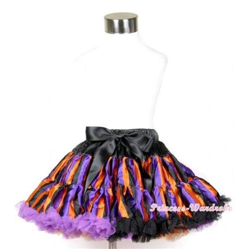 Halloween Dark Purple Orange Black Striped Full Pettiskirt P166