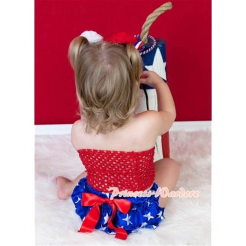 Hot Red Crochet Tube Top, Patriotic America Flag Star Bloomer Hot Red Giant Bow CT312