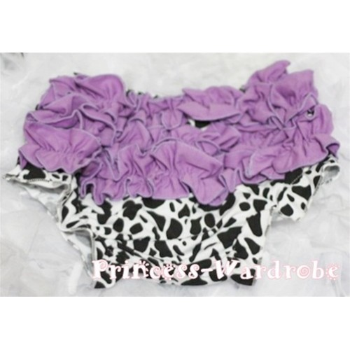 Dark Purple Milk Cow Ruffles Panties Bloomers B39