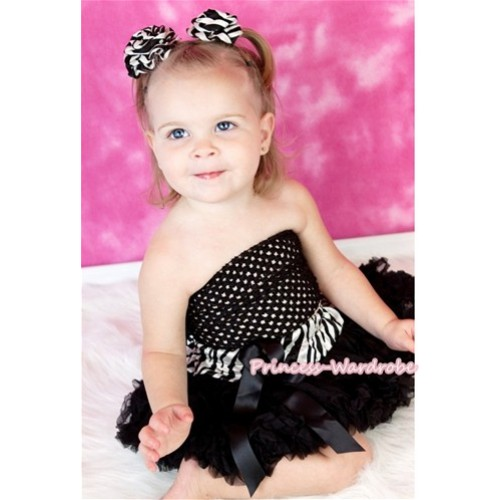 Black Crochet Tube Top & Zebra Waist Black Baby Pettiskirt CT220