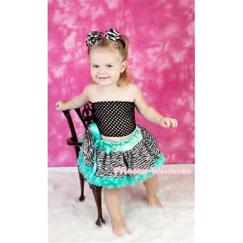 Black Crochet Tube Top & Aqua Blue Zebra Baby Pettiskirt CT221