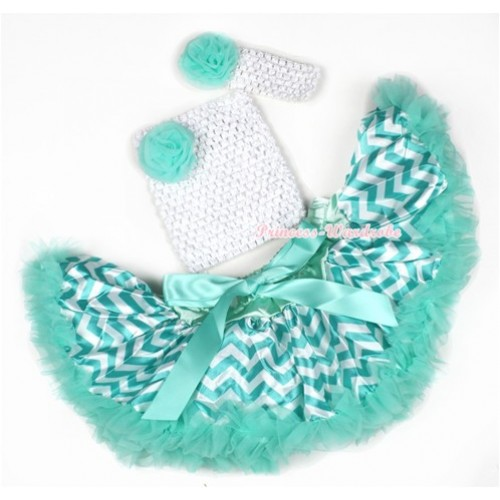 Aqua Blue White Wave Baby Pettiskirt,Aqua Blue Rose White Crochet Tube Top,White Headband Aqua Blue Rose 3PC Set CT599