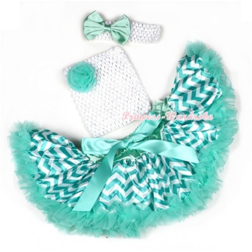 Aqua Blue White Wave Baby Pettiskirt,Aqua Blue Rose White Crochet Tube Top,White Headband Aqua Blue Satin Bow 3PC Set CT600