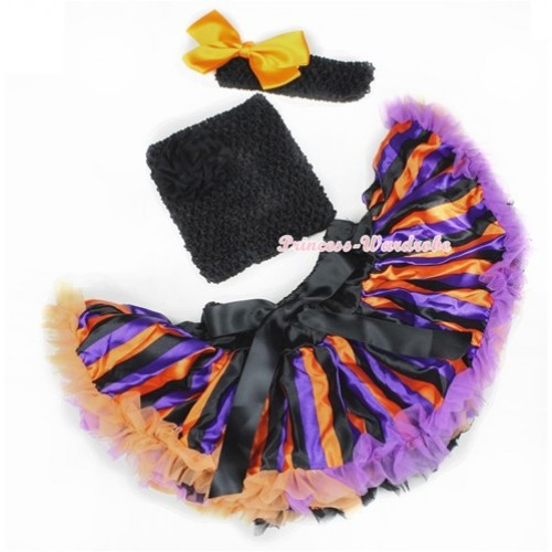 Halloween Dark Purple Orange Black Striped Baby Pettiskirt,Black Crochet Tube Top,Black Headband Orange Silk Bow 3PC Set CT601