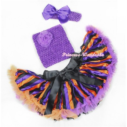 Halloween Dark Purple Orange Black Striped Baby Pettiskirt,Dark Purple Rose Dark Purple Crochet Tube Top,Dark Purple Headband Dark Purple Silk Bow 3PC Set CT602