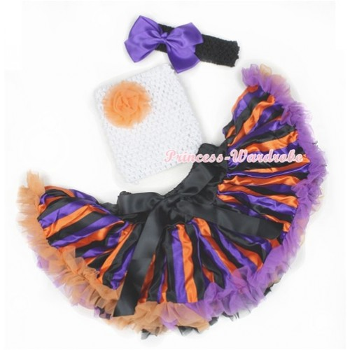Halloween Dark Purple Orange Black Striped Baby Pettiskirt,Orange Rose White Crochet Tube Top,Black Headband Dark Purple Silk Bow 3PC Set CT604