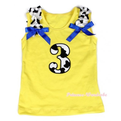 Yellow Tank Top With 3rd Milk Cow Birthday Number Print with Milk Cow Ruffles & Royal Blue Bow TN213