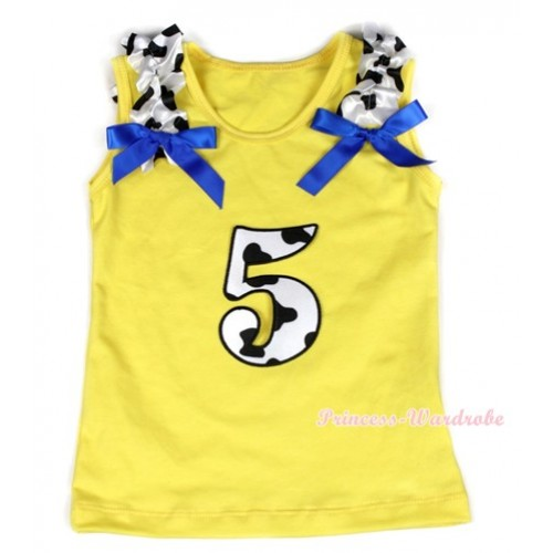 Yellow Tank Top With 5th Milk Cow Birthday Number Print with Milk Cow Ruffles & Royal Blue Bow TN215