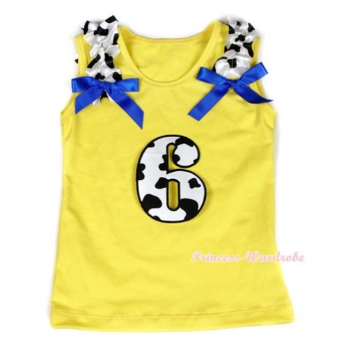Yellow Tank Top With 6th Milk Cow Birthday Number Print with Milk Cow Ruffles & Royal Blue Bow TN216