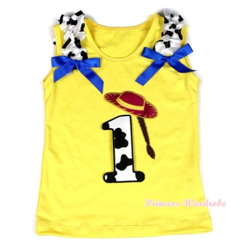 Yellow Tank Top With 1st Cowgirl Hat Braid Milk Cow Birthday Number Print with Milk Cow Ruffles & Royal Blue Bow TN217