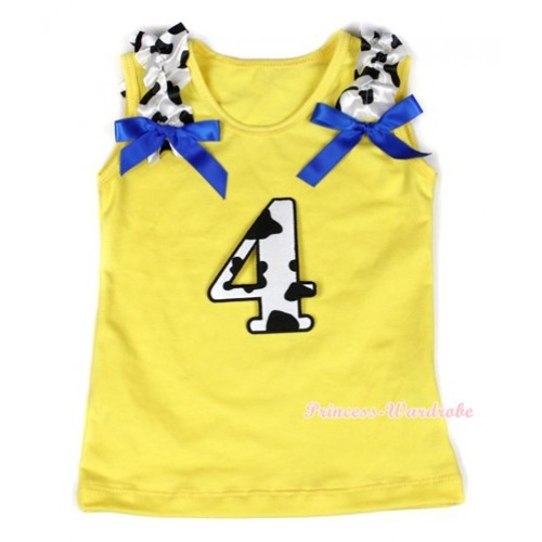 Yellow Tank Top With 4th Milk Cow Birthday Number Print with Milk Cow Ruffles & Royal Blue Bow TN214