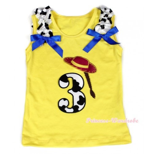 Yellow Tank Top With 3rd Cowgirl Hat Braid Milk Cow Birthday Number Print with Milk Cow Ruffles & Royal Blue Bow TN219