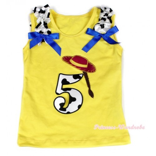 Yellow Tank Top With 5th Cowgirl Hat Braid Milk Cow Birthday Number Print with Milk Cow Ruffles & Royal Blue Bow TN221
