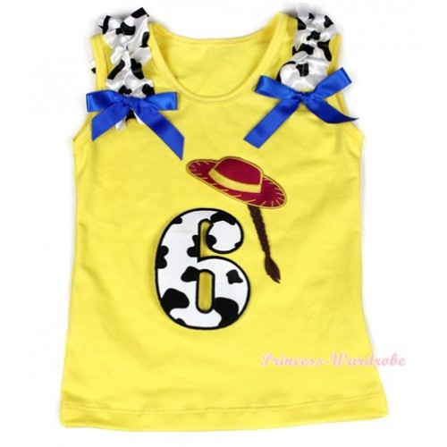 Yellow Tank Top With 6th Cowgirl Hat Braid Milk Cow Birthday Number Print with Milk Cow Ruffles & Royal Blue Bow TN222