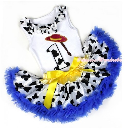 White Baby Pettitop with Milk Cow Satin Lacing & 1st Cowgirl Hat Braid Milk Cow Birthday Number Print with Yellow Royal Blue Milk Cow Newborn Pettiskirt NG1213