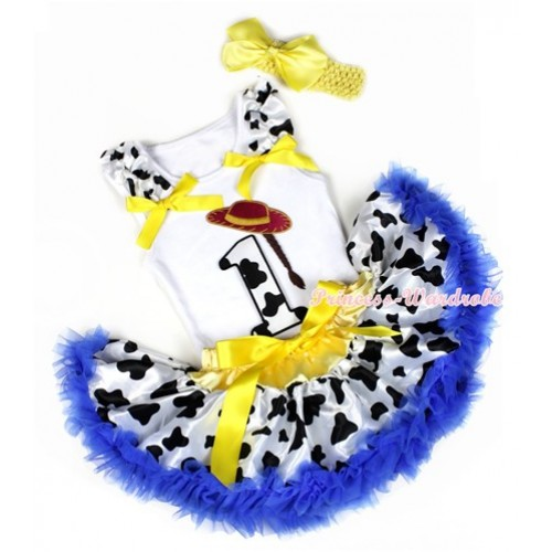 White Baby Pettitop with 1st Cowgirl Hat Braid Milk Cow Birthday Number Print with Milk Cow Ruffles & Yellow Bows & Yellow Royal Blue Milk Cow Newborn Pettiskirt With Yellow Headband Yellow Silk Bow NG1218