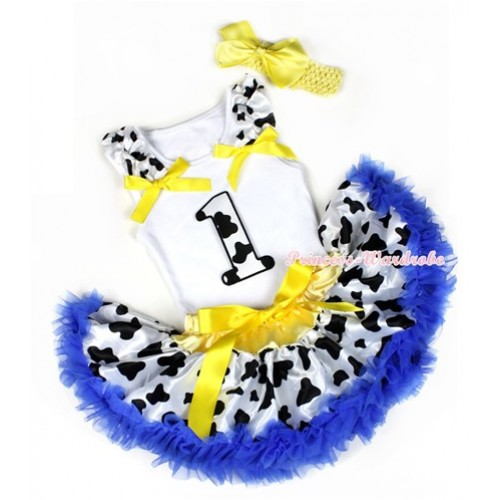 White Baby Pettitop with 1st Milk Cow Birthday Number Print with Milk Cow Ruffles & Yellow Bows & Yellow Royal Blue Milk Cow Newborn Pettiskirt With Yellow Headband Yellow Silk Bow NG1219