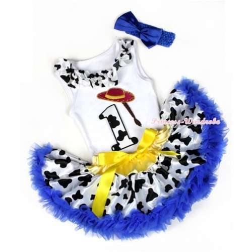 White Baby Pettitop with 1st Cowgirl Hat Braid Milk Cow Birthday Number Print with Milk Cow Satin Lacing With Yellow Royal Blue Milk Cow Newborn Pettiskirt With Royal Blue Headband Royal Blue Satin Bow NG1220