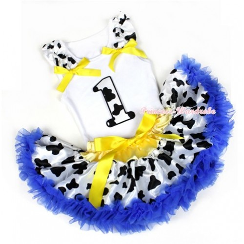 White Baby Pettitop with 1st Milk Cow Birthday Number Print with Milk Cow Ruffles & Yellow Bow with Yellow Royal Blue Milk Cow Newborn Pettiskirt NN56