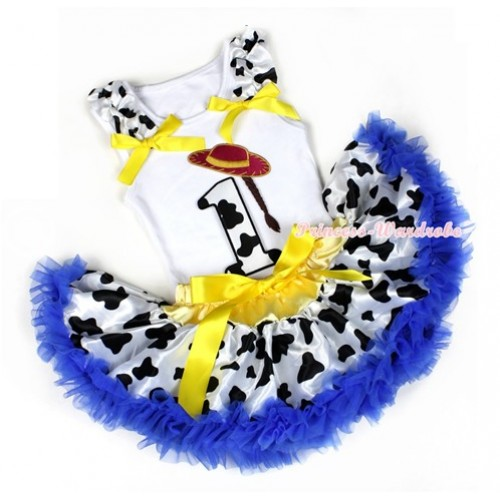 White Baby Pettitop with 1st Cowgirl Hat Braid Milk Cow Birthday Number Print with Milk Cow Ruffles & Yellow Bow with Royal Blue Milk Cow Newborn Pettiskirt NN57