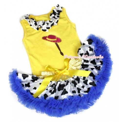 Yellow Baby Pettitop with Milk Cow Satin Lacing & Cowgirl Hat Braid Print with Yellow Royal Blue Milk Cow Newborn Pettiskirt BG76