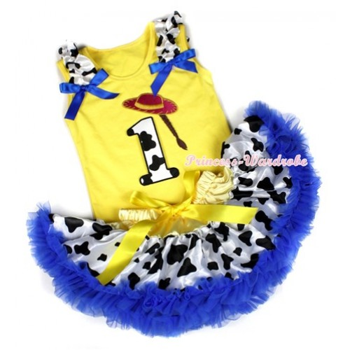 Yellow Baby Pettitop with 1st Cowgirl Hat Braid Milk Cow Birthday Number Print with Milk Cow Ruffles & Royal Blue Bow with Yellow Royal Blue Milk Cow Newborn Pettiskirt BG78