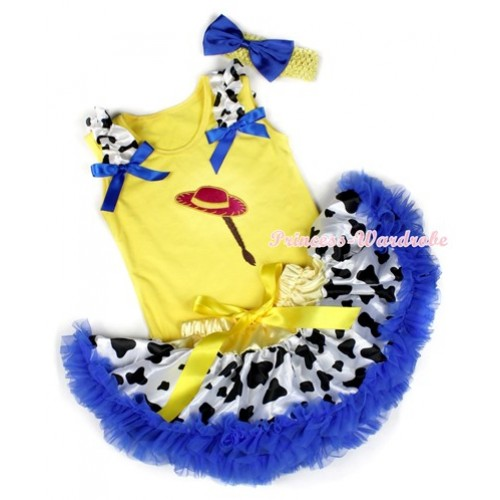 Yellow Baby Pettitop with Cowgirl Hat Braid Print with Milk Cow Ruffles & Royal Blue Bows & Yellow Royal Blue Milk Cow Newborn Pettiskirt With Yellow Headband Royal Blue Satin Bow BG85