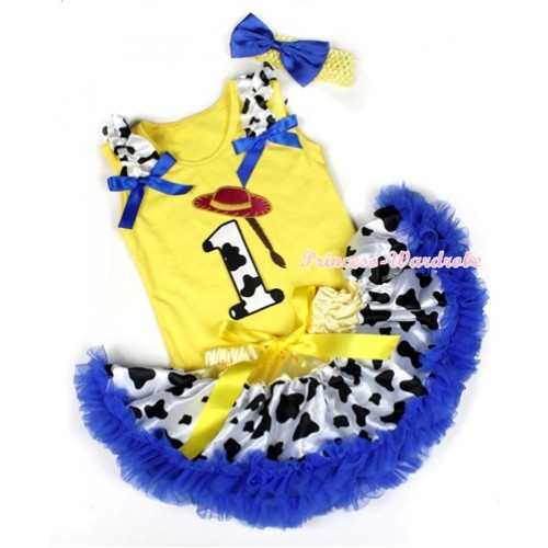 Yellow Baby Pettitop with 1st Cowgirl Hat Braid Milk Cow Birthday Number Print with Milk Cow Ruffles & Royal Blue Bows & Yellow Royal Blue Milk Cow Newborn Pettiskirt With Yellow Headband Royal Blue Satin Bow BG86